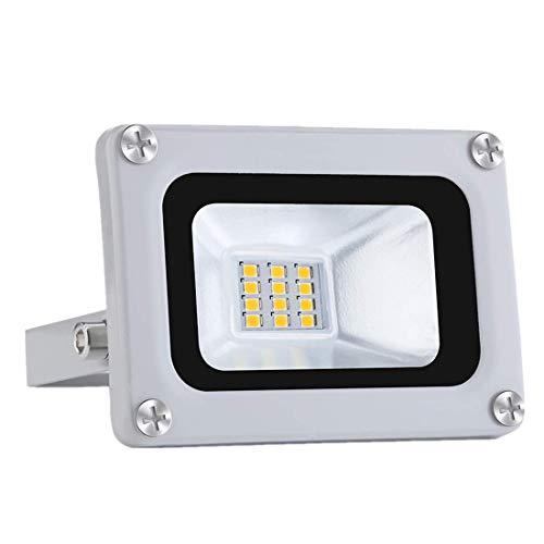 10W Foco Exterior LED IP65 Impermeable 12V Proyector LED Exterior 1000LM 6500K Blanco frio Luz de seguridad LED Floodlight para Jardín Garaje Patio Campo Césped [Clase de energía A+]