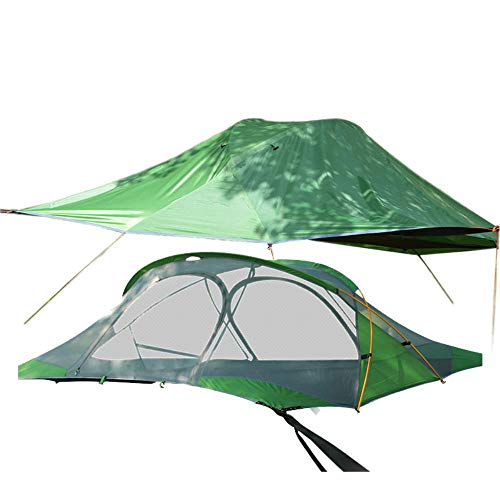 YRDDJQ Outdoor Camping Hiking Rally Bed Double Layer Rainproof Double 2 Person Hanging Tent Suspension Tent Tree Tent Hammock Tent