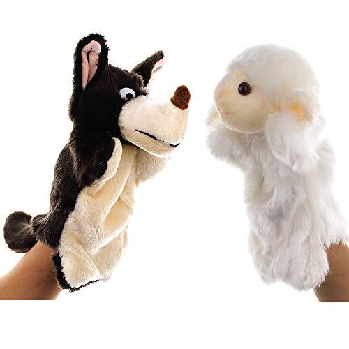EQLEF Marionetas de Mano, Marionetas de ovejas realistas Marionetas de Peluche Suaves para Jugar y Contar Historias de Lobos y corderos