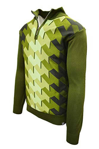 STACY ADAMS Men's Sweater, Ombre Geometric Front Design (XL, Olive)