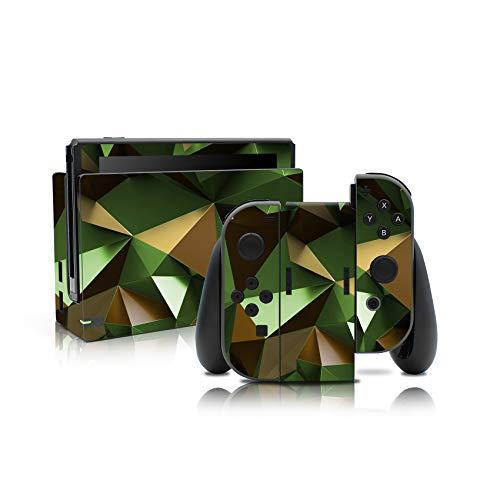 Folien Skin für Spiele Konsole Joy-Con und Ladestation Aufkleber Set Top Schutz gegen Kratzer Design Sticker Cover passgenau selbstklebend RX021 (Nr. 10 Polygon Camouflage)