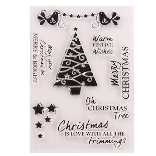Eliky stempel, scrapbooking, kerstboom, ster, silicone, afdichting transparant, stempel, knutselen, scrapbooking, reliëffoto