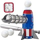 JOYIN Rocket Automatic Pitcher Baseball Training Toy Set with Patriotic American Flag Baseball Pitching Machine, Plastic Baseball Bat and 7 Plastic Baseballs, for Kids Backyard Outdoor Pitcher Game