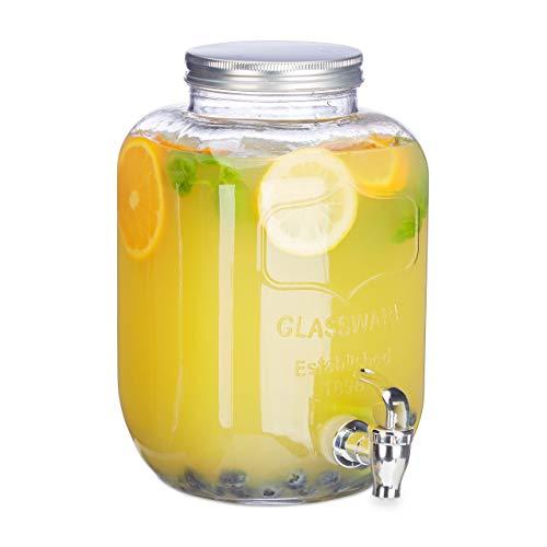 Relaxdays Dispensador de bebidas con grifo, Cristal, Vintage, Expendedor de refrescos, 5 L, Transparente