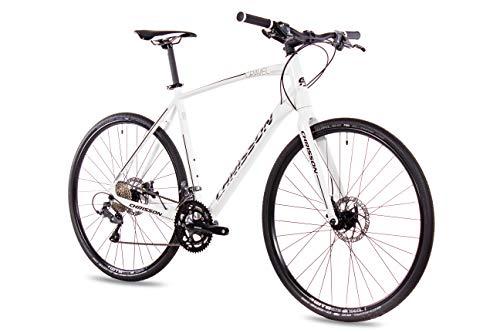 CHRISSON Bicicleta Gravel Urban One de 28 pulgadas, color blanco, 52 cm, urbana, con cambio Shimano Claris de 16 velocidades, para hombre y mujer