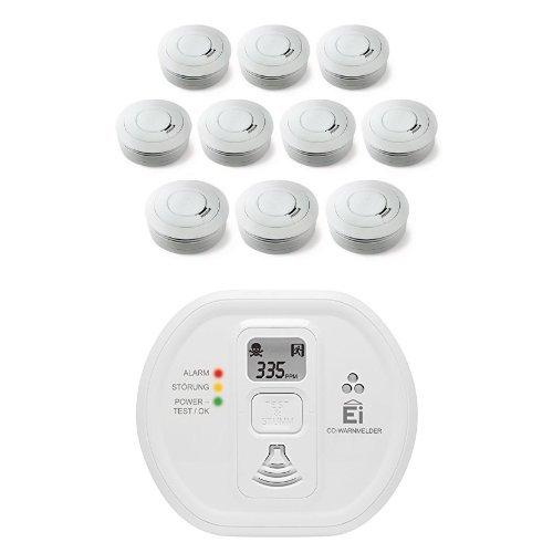 Ei Electronics Ei650 10-Jahres-Rauchwarnmelder, weiß, 10 Stück + Ei208D 10-Jahres-Kohlenmonoxidwarnmelder, weiß, 1 Stück
