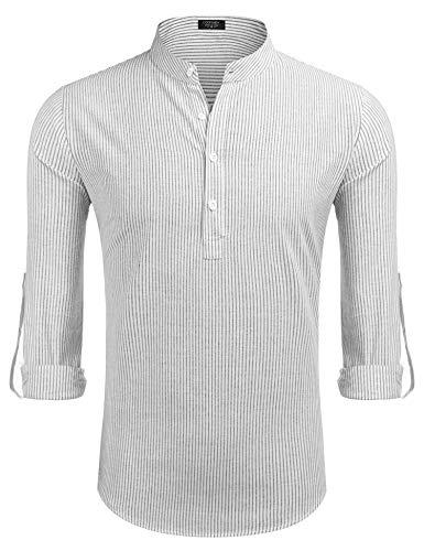 COOFANDY Langarmshirt Herren Gestreift Stehkragen mit Kurzen Knöpfen Gestreifte Klassische Freizeithemd für Männer schwarz Weiss L