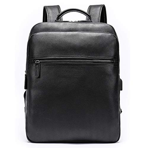 Genuine Leather Business Shoulder Backpack 13 Inch Laptop Backpack School Camping Travel Bag for Men and Women, Colour, black-Onesize