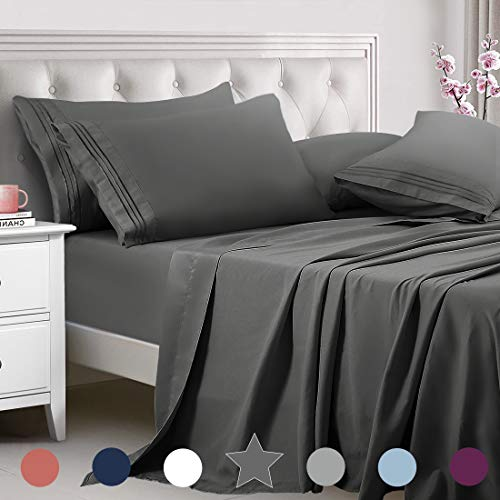 TEKAMON Queen Bed 6 Piece Sheet Set Cooling 100%...
