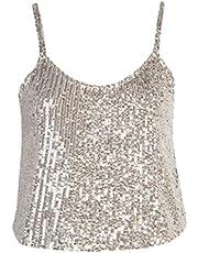 JIER Liquidación Chaleco de Lentejuelas Brillante para Mujer Chaleco con Lentejuelas Brillantes Camiseta sin Mangas con Purpurina Tops de Fiesta Clubwear