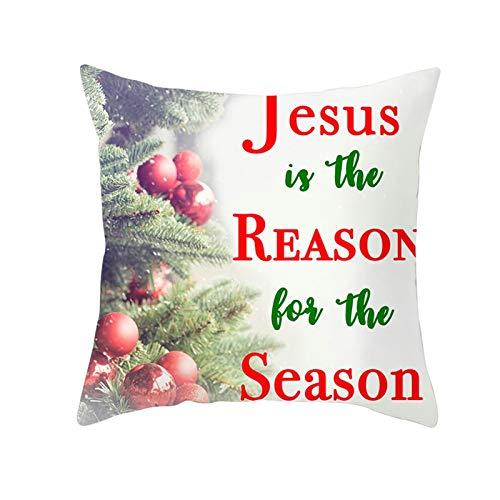 Ukilook Funda de cojín cuadrada de poliéster con diseño de árbol de Navidad y frase inglesa impresa para sofá, dormitorio, temática navideña, sin relleno (40 x 40 cm), color rojo y verde