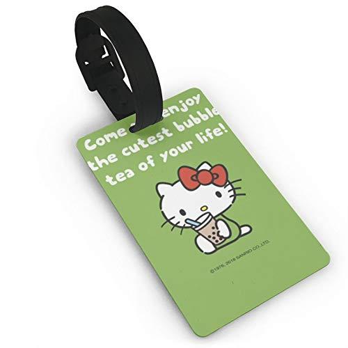 DNBCJJ Etiquetas de equipaje para maletas Hello Kitty Drinks Milk Tea Luggage Tag,con nombre ID maleta para mujeres hombres niños accesorios de viaje