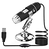 USB Digital Microscope 0X to 1000X,8 LED Magnification Endoscope Camera with Carrying Case & Metal Stand, Compatible for...