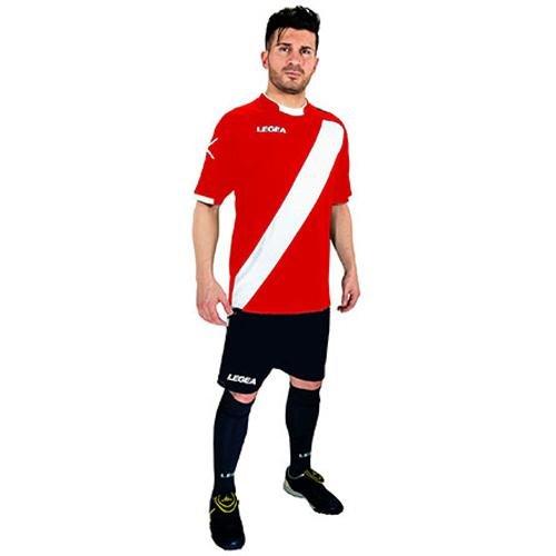 Legea Herren Jungen Fußball Kit Trikot Shirt Short Hosen Klein Armel Hallenfußball Lima Rot/Weiß (L)