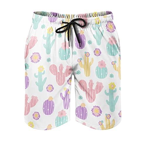 Facbalaign Herren Shorts Kaktus überall Badehose Pflanzen Badeshorts mit Mesh-Futter und Taschen White M