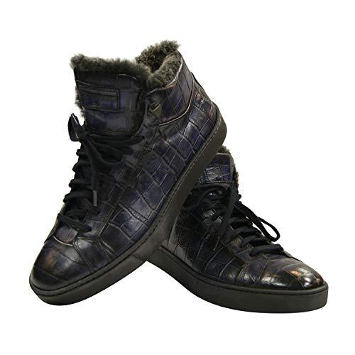 Santoni Sneakers Boots Alligator Leder Print Nachbildung Fell Gefüttert Blau MBGU14393NERHSTFU60 (39 EU, Blau)