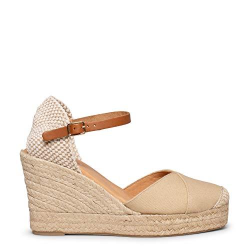 Zapatos miMaO. Alpargatas de Mujer Hechas en España. Alpargatas de Lona Escote en V con Plantilla de Gel