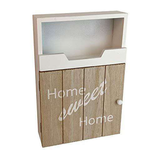 Armario para llaves 'Home Sweet Home' con 3 ganchos, 20 x 7,5 x 30 cm, aspecto vintage, madera, armario para llaves