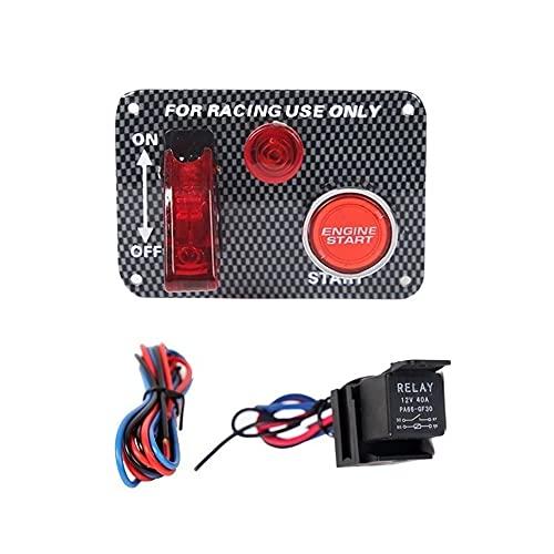Panel de interruptores de Encendido Panel de interruptores de Palanca de Encendido de Fibra de Carbono Universal para Coche de Carreras Motor de Barco Botón de Encendido
