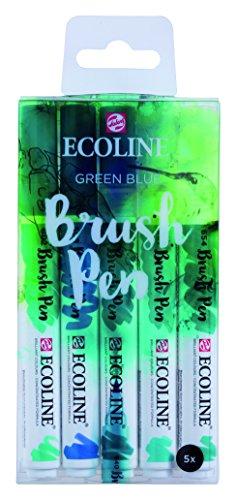 Ecoline Liquid Watercolor Brush Pen, Set of 5 - Green Blue (11509909)