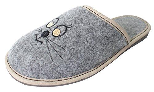 Revise Hochwertige, Bequeme Damen Hausschuhe aus Filz mit Gummisohle/Gestickte Katze/Gr. 36