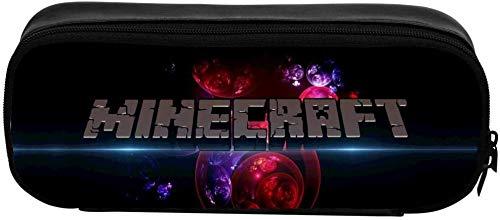 HUGEARTH Minecraft - Estuche para lápices con logotipo de Minecraft para adolescentes y niños, con cierre de cremallera de piel, impresión se puede personalizar