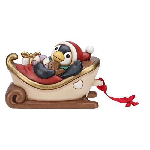 THUN ® - Slitta Componibile Grande Natale 2017 Con Pinguino - Ceramica - L 30 Cm - Linea I Classici
