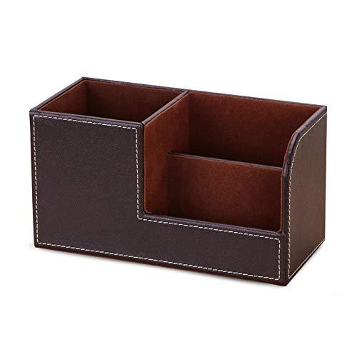 XGzhsa Organizadores de escritorio, portalápices para escritorio, organizadores de escritorio de oficina de cuero multifuncionales con 3 compartimentos, pequeño organizador de cosméticos (marrón)