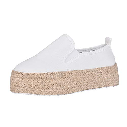 Shujin Damen Slip on Sneaker Espadrilles Platform Low Top mit Plateau Bast Leicht Bequeme Segeltuch Sommerschuhe Flache Atmungsaktiv Schuhe Slippers