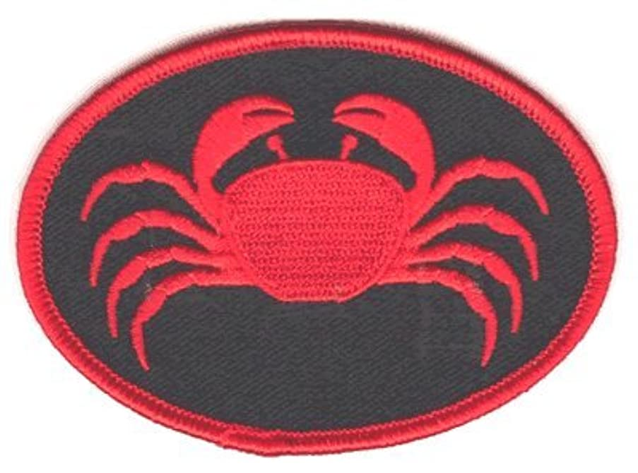 Crab iron-on embroidered patch