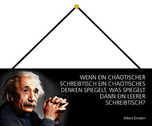 NWFS Albert Einstein Spruch Wenn EIN chaotischer Schreibtisch EIN chaotisches Denken spiegelt, was spiegelt dann EIN leerer Schreibtisch? Blechschild Schild gewölbt Metal Sign 10 x 27 cm mit Kordel
