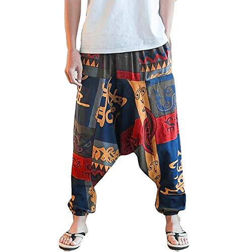 LANSKIRT Ropa de Pareja Unisex Pantalones Anchos Mujer y Hombre Chandal Pantalón de Yoga Estampado Pareja Pantalones Hombre Sueltos para Deporte(Amarillo, L)