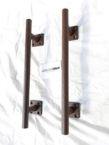 Tirador puerta herrajes forja granero rustico tirador mango de hierro armario habitación cocina Modelo Antique 2 Morales forja. Set de 2 unidades. Imitación Oxido.