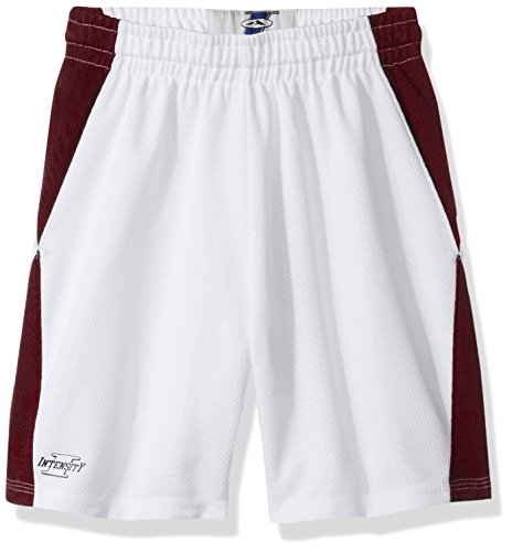 Intensity Unisex-Basketball-Shorts mit Diamanten, Flache Rückseite, Netzstoff, Damen Unisex-Erwachsene, Youth Diamond Flatback Mesh Basketball-Shorts, Weiß/Kastanienbraun, Small