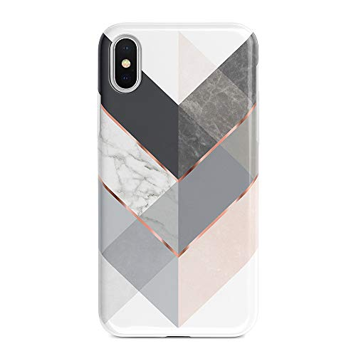 Obbii iPhone X/XS Matte Case Marble Gray Rose Geometric Design, Shockproof Slim TPU Flexible Soft Silicone Protective Cover Case Compatible with iPhone X/XS(5.8'')