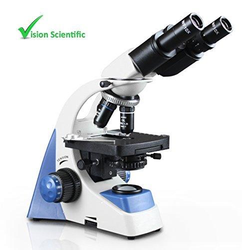 Vision Scientific VMU0005-B Binocular, 10x WF Eyepiece, 40x—1000x Magnification, LED Illumination, Coaxial Coarse & Fine Focus, Double Layer Mechanical Stage, 1.25 NA Abbe Condenser