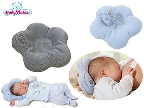 BabyMatex Flor Dark Grey - Babykopfkissen in Optimaler Form - Ideal auch als Stillkissen / Fütterkissen