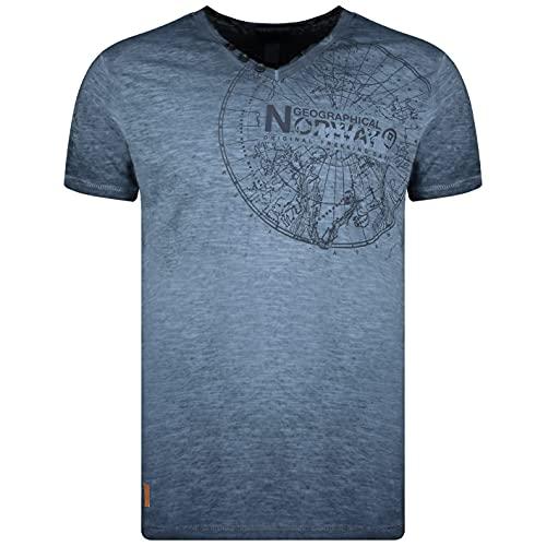 Geographical Norway T-Shirt Jimperable Uomo 100% Cotone Maglia Manica Corta WN958F-GN (Marino, 3XL)