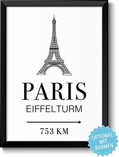 Paris Eiffelturm mit individueller Entfernungsangabe personalisiertes Bild optional mit Holz-Rahmen Geschenk Geschenkidee