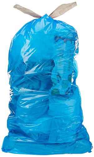 AmazonCommercial 13 Gallon Blue Recycling Bags /w Drawstrings  07 MIL  45 Count