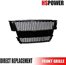 HS Power Black Front Grill R Style Honeycomb Mesh Hood Bumper Grille ABS 2008-2010 for Audi A5 8T