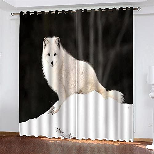 UYSDJH Cortinas Aislantes Opaca Ojales Zorro ártico Animal 220x215 cm Bedding para Moderno Cuarto Habitacion Infantil Comedor Salon Dormitorio Cocina Habitación Decorativo Ventanas