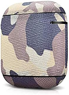 Icarer Camouflage Pattern Series Real Leather Airpods Protective Case
