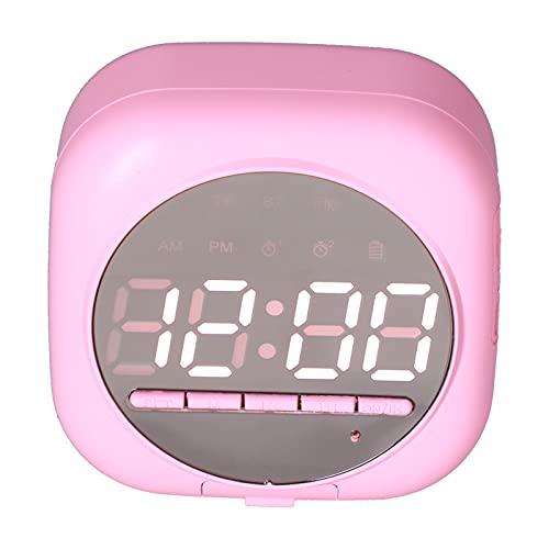 Sorandy Reloj Despertador Digital Multifuncional P12, Altavoz de Graves con Reloj BT, Reloj Despertador con Reproductor MP3 Dual con Espejo LED inalámbrico portátil con Cargador USB(Rosado)