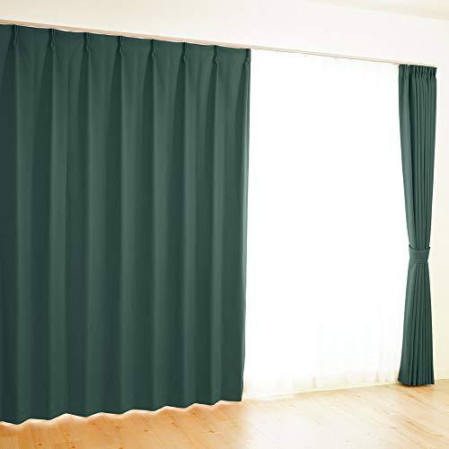 【全41色×220サイズ】 オーダーカーテン 1級遮光 防炎 均一価格 ポイフル ダークグリーン 幅100×丈210cm 1枚