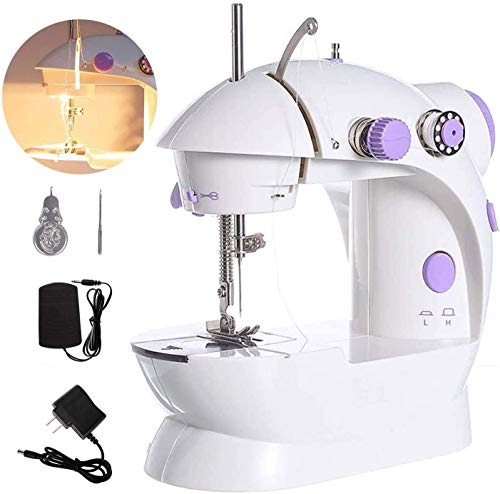 Mini Sewing Machine, Portable Electric Crafting Mending Machine with 2-Speed Double Thread for Household Travel Beginner