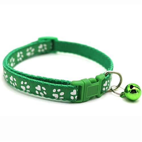 HDDFG Collar Ajustable Para Perros Y Gatos, Hebillas De Nailon Para Mascotas Pequeñas Con Campana, Suministros Para Gatos, Accesorios Para Correa De Bulldog Chihuahua (Color : Green)