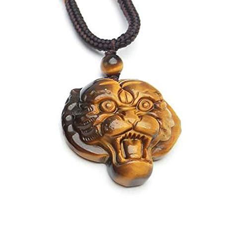 Natural Tiger eye stone Pendant Gold Tiger Head Pendants Necklace For Women Men pendants Jade Jewelry