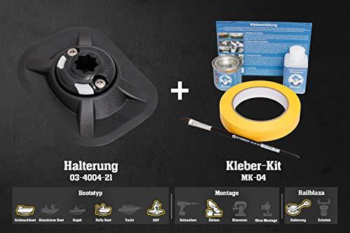 Set: Railblaza Ribport Halterung Außenhaut (schwarz) + Kleber Kit, 03-0006-11