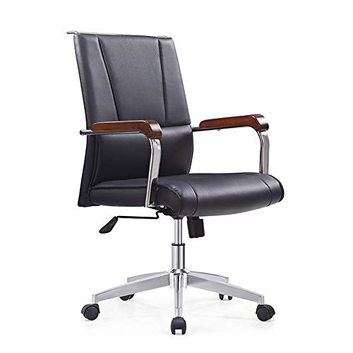 Lwieui Silla de Oficina Comercial Respaldo Alto de Cuero Silla de Oficina giratoria Presidente Ejecutivo Las sillas de Escritorio (Color : Black, Size : Free Size)